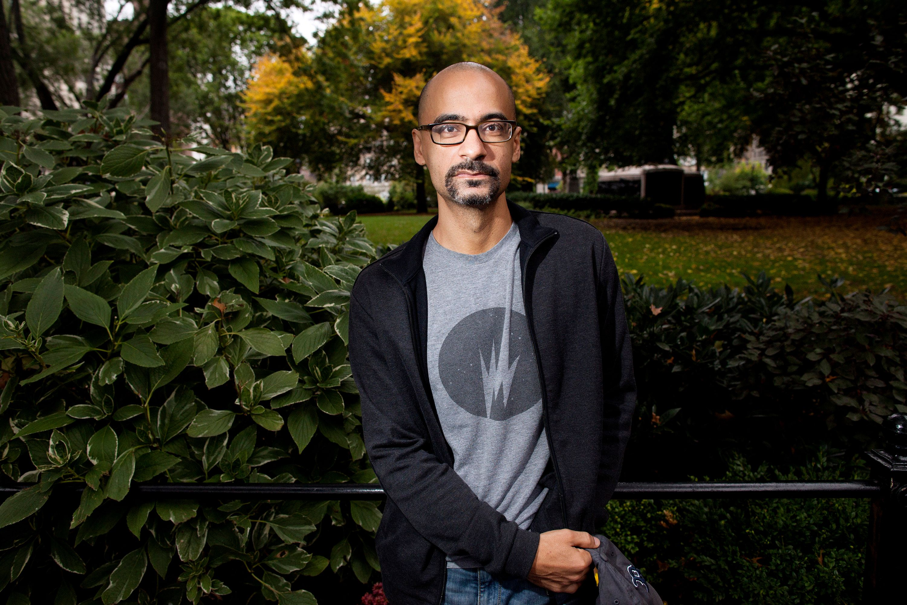 Author Junot Diaz poses in Union Square in New York, N.Y. on Oct. 7, 2013. (Brian Harkin/Chicago Tribune/TNS via Getty Images)