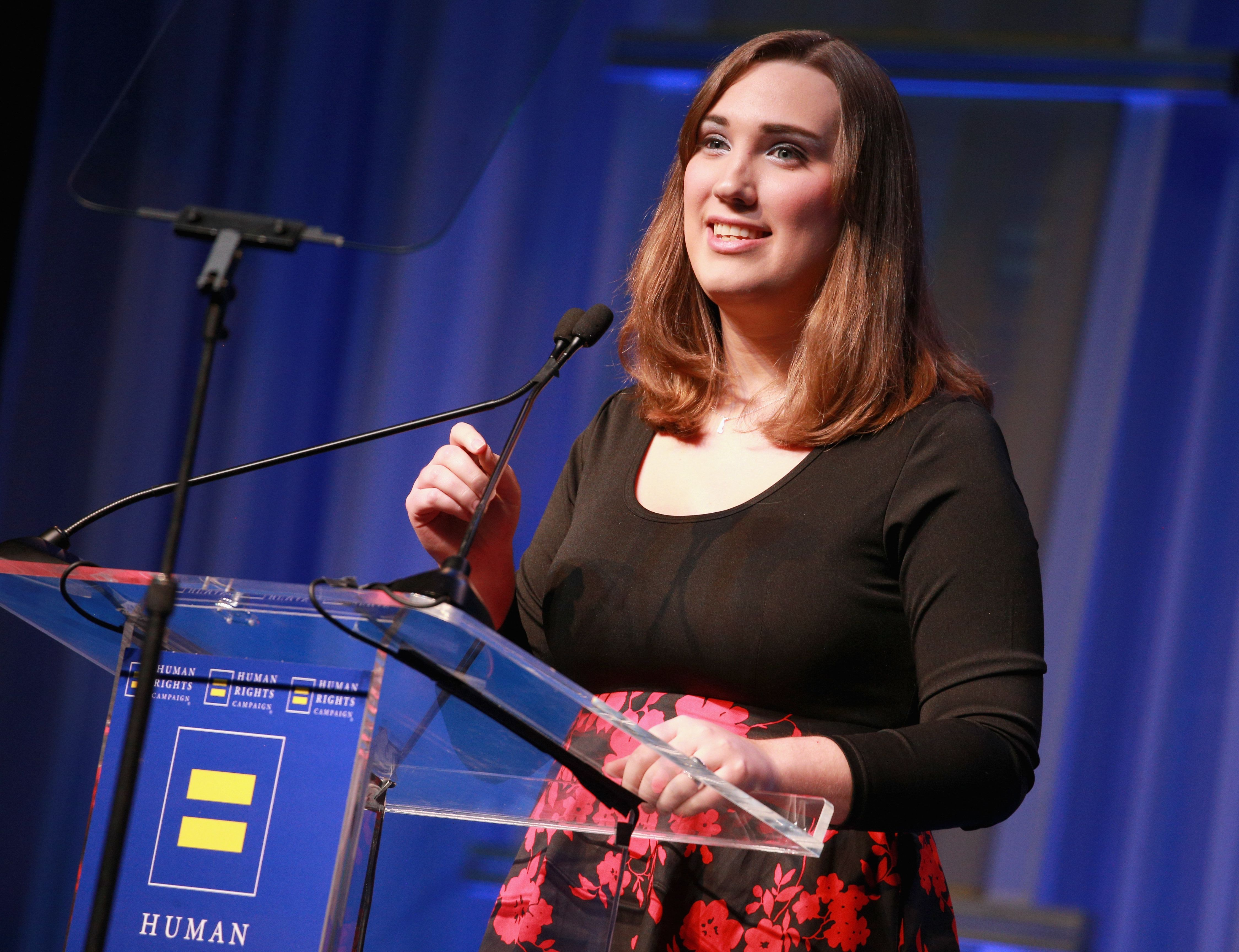 Sarah McBride speaking at the Human Rights Campaign 2018 Gala Dinner in Los Angeles.
