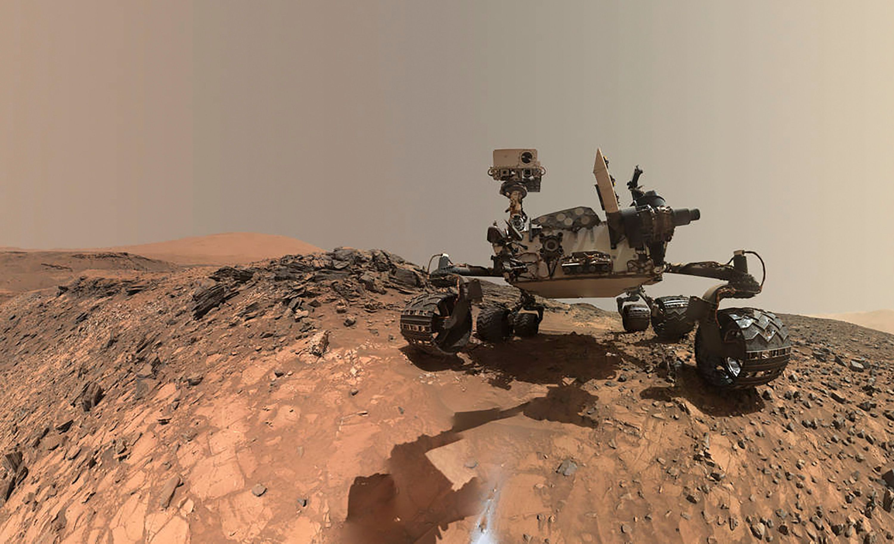 NASA's Curiosity rover is seen on lower Mount Sharp in this low-angle self-portrait taken Aug. 15,