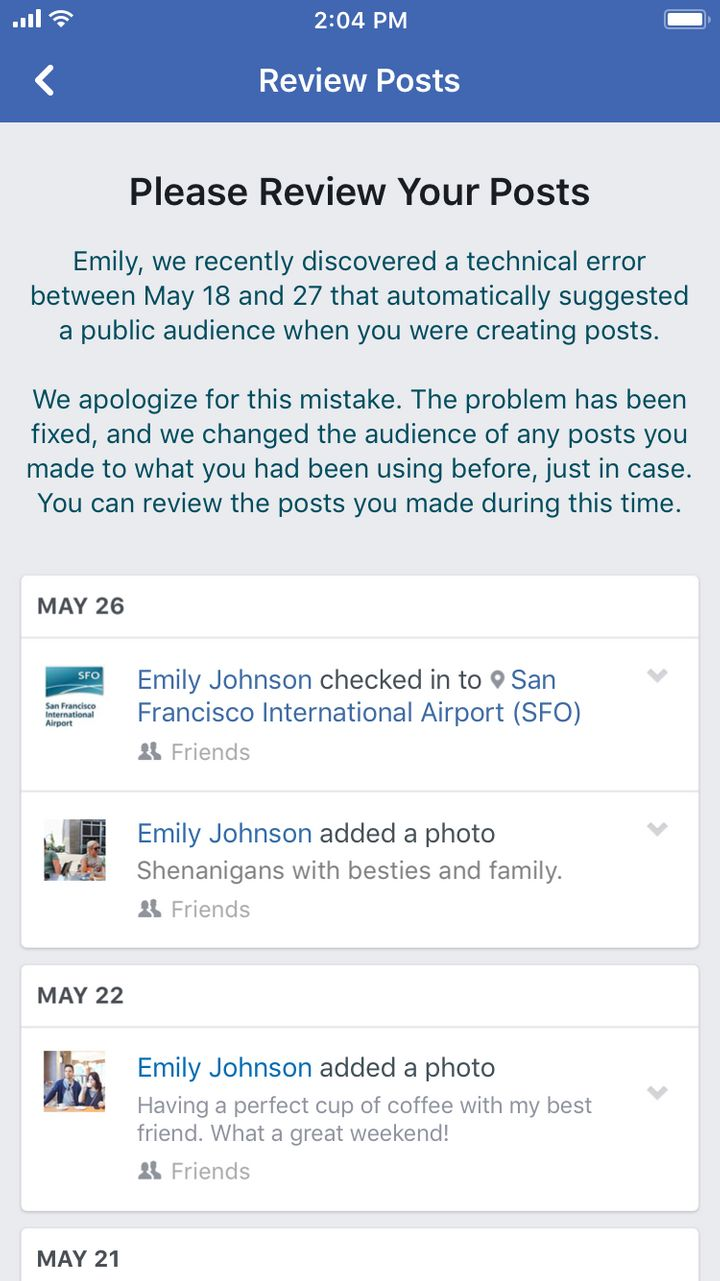 An example of the notification affected users would get from Facebook.