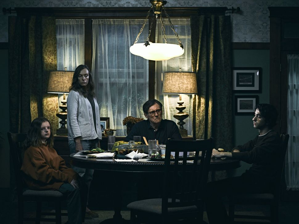 "Milly Shapiro, Toni Collette, Gabriel Byrne and Alex Wolff star in ""Hereditary."""