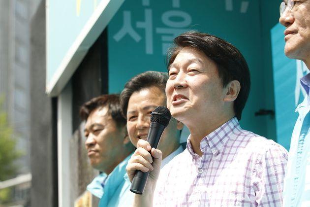 7일 안철수 바른미래당 서울시장 후보가 서울 장안사거리에서 집중 유세를 하고