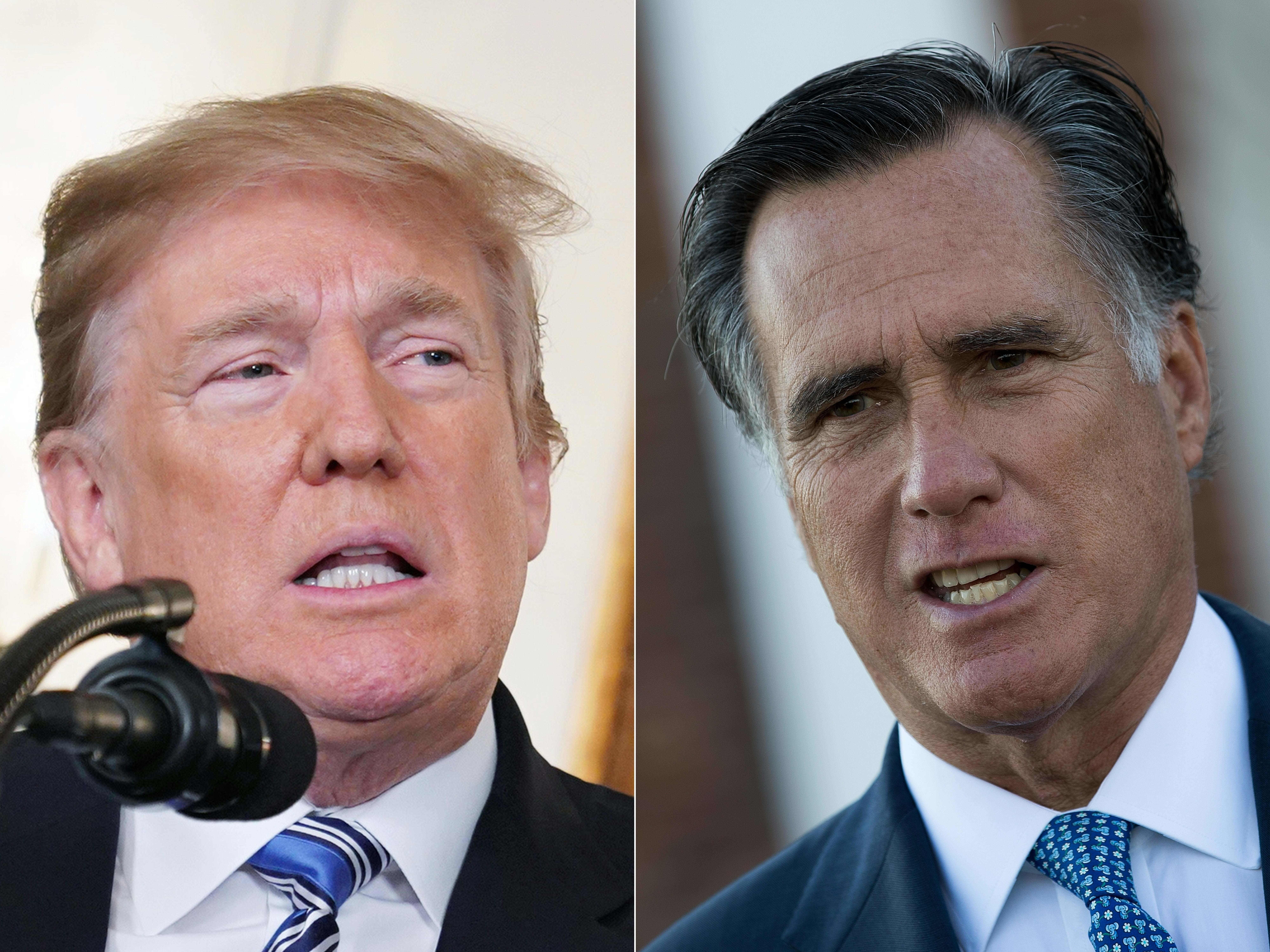 (COMBO) This combination of file pictures created on February 20, 2018 shows US President Donald Trump(L) speaking on the Florida school shooting at the White House on February 15, 2018 in Washington, DC, and Mitt Romney speaking to reporters after his meeting with president-elect Donald Trump at Trump International Golf Club, November 19, 2016 in Bedminster Township, New Jersey.   Donald Trump and Mitt Romney, once one of the president's fiercest critics, have kissed and made up, at least on Twitter .Romney, a wealthy businessman, ex-governor of Massachusetts and the 2012 Republican presidential nominee, announced last week he is running for a US Senate seat in Utah. On February 19, 2018, Trump praised Romney and gave him his backing, with Romney thanking him.   / AFP PHOTO / Drew Angerer AND Mandel NGAN        (Photo credit should read DREW ANGERER,MANDEL NGAN/AFP/Getty Images)
