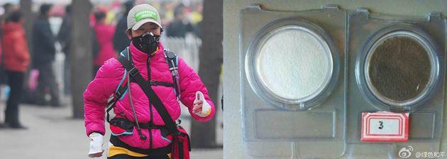 초미세먼지 측정기를 부착한 마라톤 대회 참가자. 6시간 만에 필터가 새까맣게 변했다초미세먼지 측정기를 부착한 마라톤 대회 참가자. 6시간 만에 필터가 새까맣게