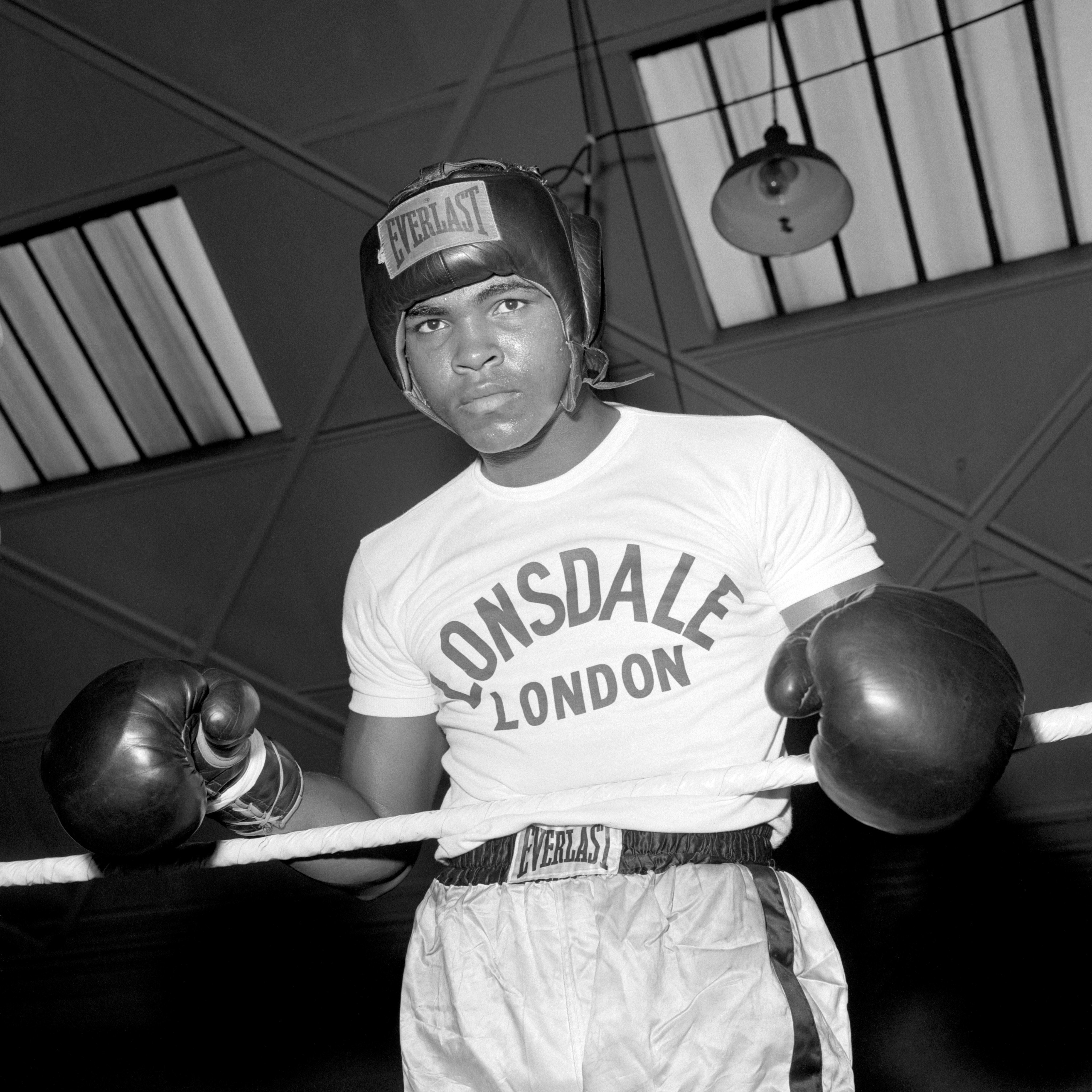 The great fists of American boxer Muhammad Ali (formerly Cassius Clay) are ready to do battle. Here he is seen in sparring attitude for his Heavyweight Championship of the World fight against Britain's Henry Cooper at Highbury Stadium, London.