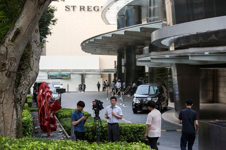 Members of the media outside St. Regis Hotel on June 8, 2018 in Singapore.