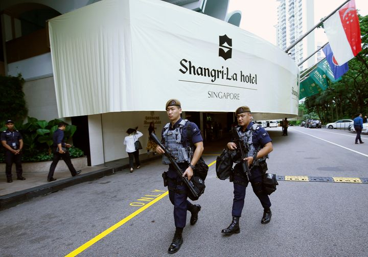 Gurkhas patroling outside the Shangri-La in Singapore on June 1, 2018 as the Shangri-la Dialogue was underway.