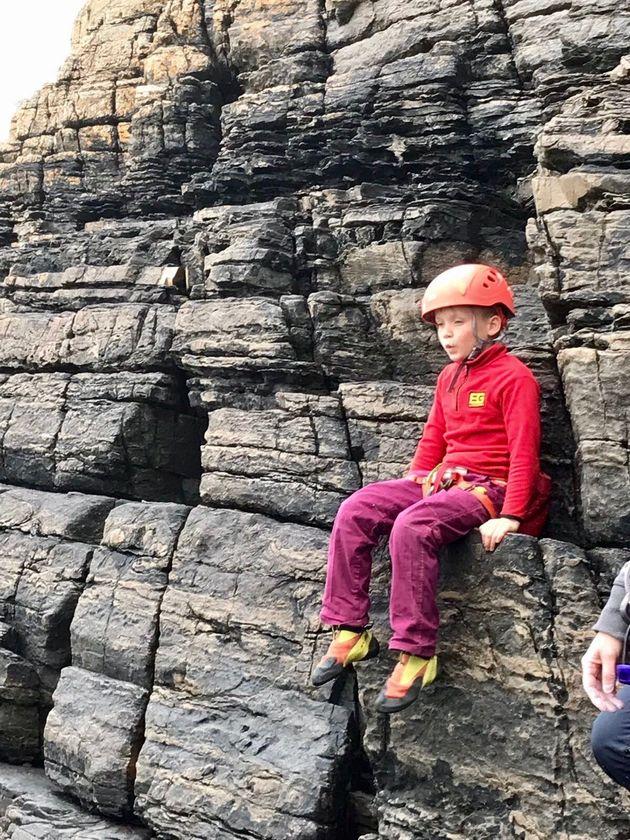 Edwardon a sea cliff climbing