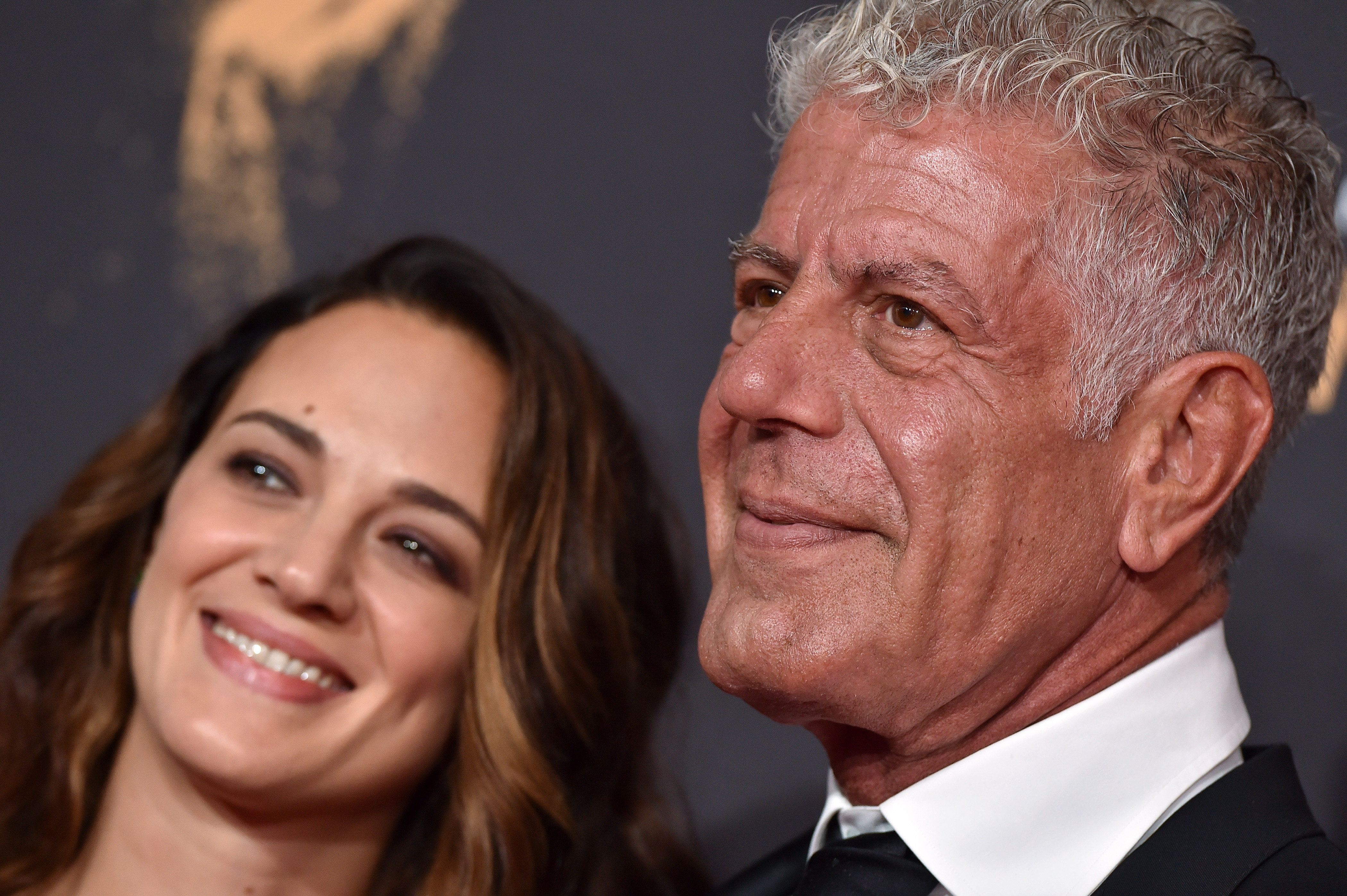 LOS ANGELES, CA - SEPTEMBER 09: Actress Asia Argento and chef Anthony Bourdain arrive at the 2017 Creative Arts Emmy Awards at Microsoft Theater on September 9, 2017 in Los Angeles, California. (Photo by Axelle/Bauer-Griffin/FilmMagic)