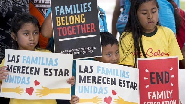 Children in front of the Miramar, Florida, U.S. Immigration and Customs Enforcement offices this month hold up signs in prote