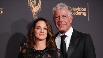 LOS ANGELES, CA - SEPTEMBER 09:  Asia Argento and Anthony Bourdain attend the 2017 Creative Arts Emmy Awards at Microsoft Theater on September 9, 2017 in Los Angeles, California.  (Photo by Jason LaVeris/FilmMagic)