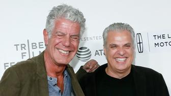 NEW YORK, NY - APRIL 22:  Anthony Bourdain and Eric Ripert attend the premiere of 'Wasted!' during the 2017 Tribeca Film Festival at Borough of Manhattan Community College on April 22, 2017 in New York City.  (Photo by Taylor Hill/Getty Images)