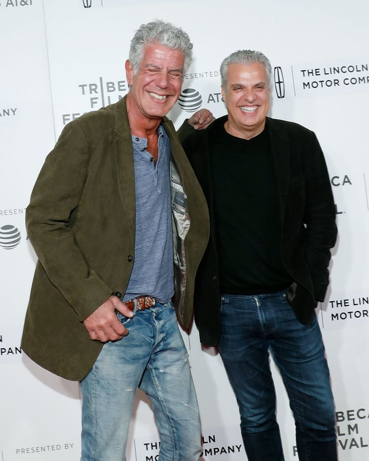 Anthony Bourdain and Eric Ripert at the 2017 Tribeca Film Festival on April 22, 2017, in New York City.