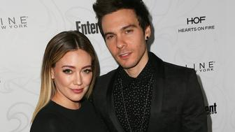 LOS ANGELES, CA - JANUARY 28:  Actress Hilary Duff (L) and musician Matthew Koma arrive at the Entertainment Weekly celebration honoring nominees for The Screen Actors Guild Awards at the Chateau Marmont on January 28, 2017 in Los Angeles, California.  (Photo by David Livingston/Getty Images)
