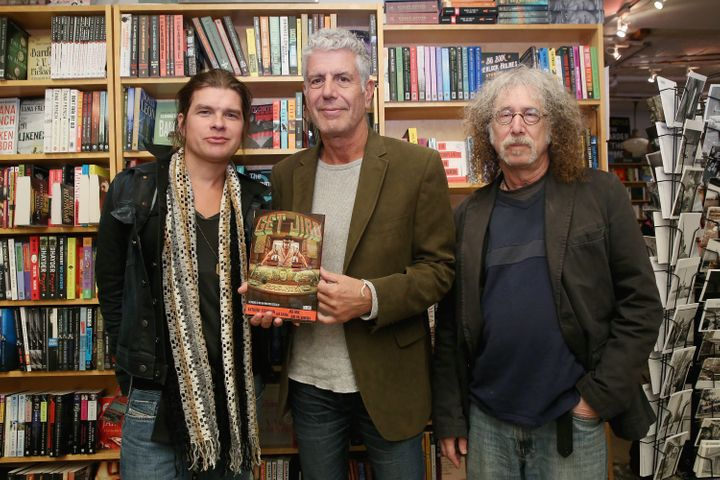 """Artist Paul Pope, chef Anthony Bourdain and writer Joel Rose attend the comic book release of """"Get Jiro: Blood And Sushi"""" at BookCourt on Oct. 29, 2015, in New York City."""