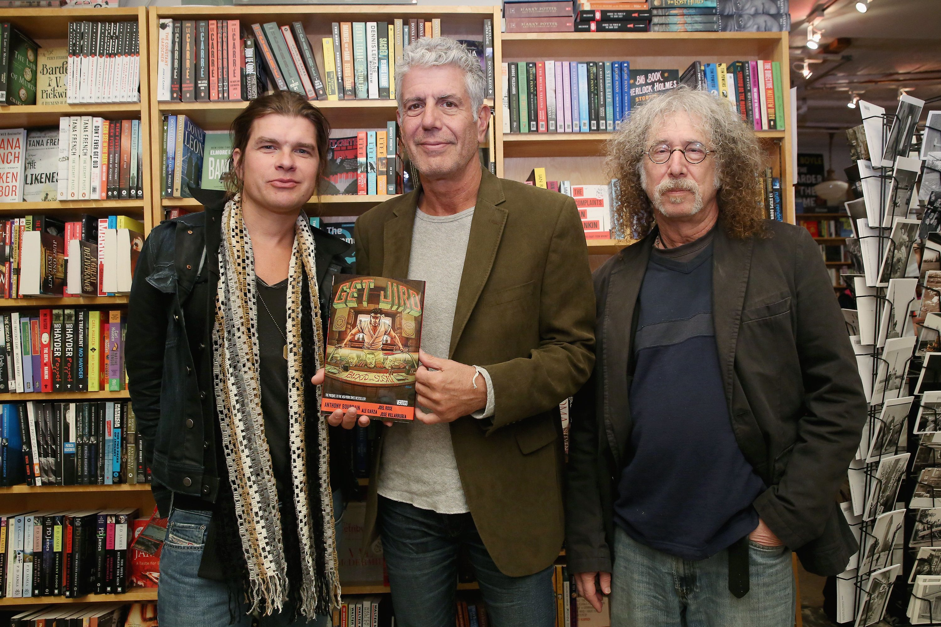 "Artist Paul Pope, chef Anthony Bourdain and writer Joel Rose attend the comic book release of ""Get Jiro: Blood And Sushi"" at"