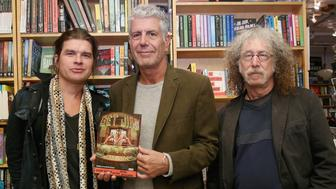 NEW YORK, NY - OCTOBER 29:  (L-R) Artist Paul Pope, chef Anthony Bourdain and writer Joel Rose attend the comic book release of 'Get Jiro: Blood And Sushi' at BookCourt on October 29, 2015 in New York City.  (Photo by Mireya Acierto/Getty Images)