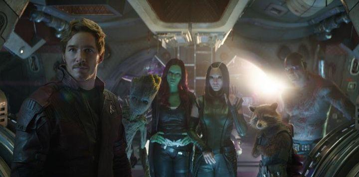 "Star-Lord (Chris Pratt), Groot (Vin Diesel), Gamora (Zoe Saldana), Mantis (Pom Klementieff), Rocket (Bradley Cooper) and Drax (Dave Bautista) in ""Avengers: Infinity War."""