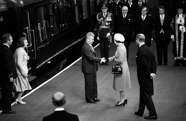 Queen Elizabeth II greets President Nicolae Ceausescu, of the Socialist Republic of Romania, at the start...