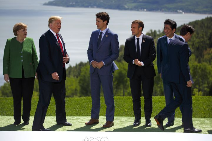 (Left to right) Germany's Angela Merkel, the United States' Donald Trump, Canada's Justin Trudeau, France's Emmanuel Macron,