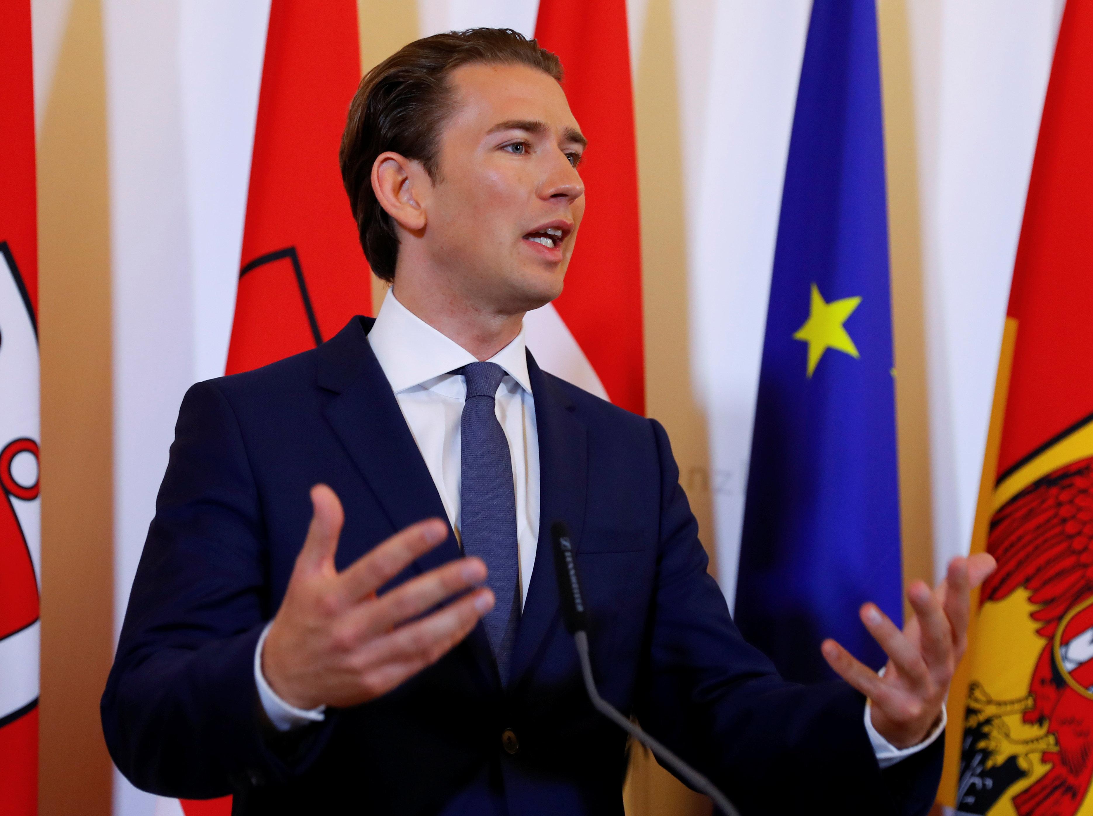 Austrian Chancellor Sebastian Kurz attends a news conference in Vienna, Austria June 8, 2018.  REUTERS/Leonhard Foeger