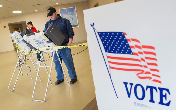 Voters cast their ballots at a polling place in Fowler, Indiana, in the May 3, 2016, primary.