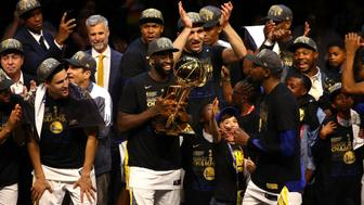 CLEVELAND, OH - JUNE 08:  Kevin Durant #35 and Draymond Green #23 of the Golden State Warriors celebrate after defeating the Cleveland Cavaliers during Game Four of the 2018 NBA Finals at Quicken Loans Arena on June 8, 2018 in Cleveland, Ohio. The Warriors defeated the Cavaliers 108-85 to win the 2018 NBA Finals. NOTE TO USER: User expressly acknowledges and agrees that, by downloading and or using this photograph, User is consenting to the terms and conditions of the Getty Images License Agreement.  (Photo by Justin K. Aller/Getty Images)