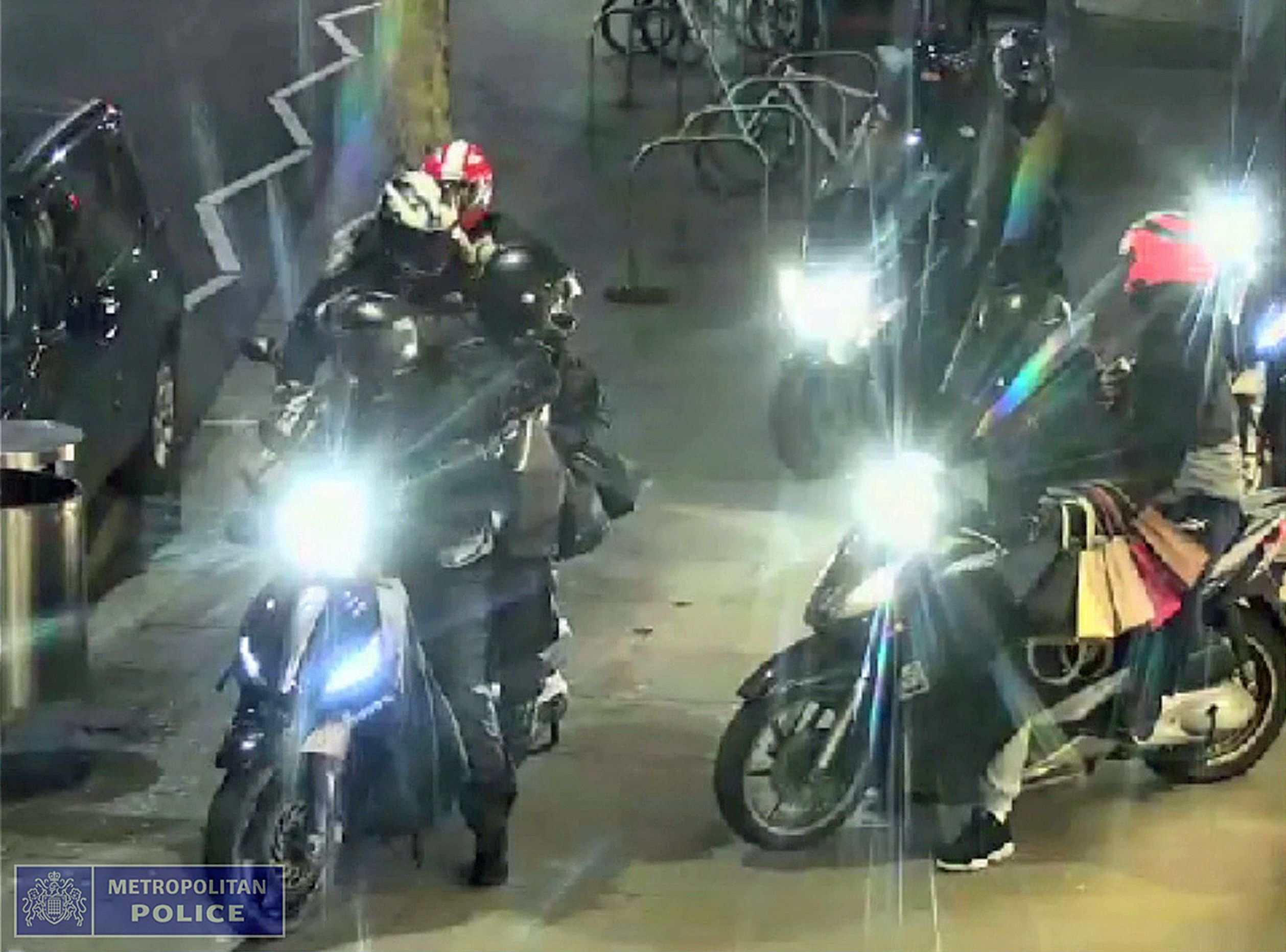 A police handout of a moped gang that robbed a designer ship in west London - there has been a surge...