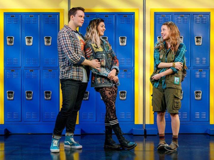 "Grey Henson as Damian, Barrett Wilbert Weed as Janis andErika Henningsen as Cady in the musical adaptation of ""Mean Gir"