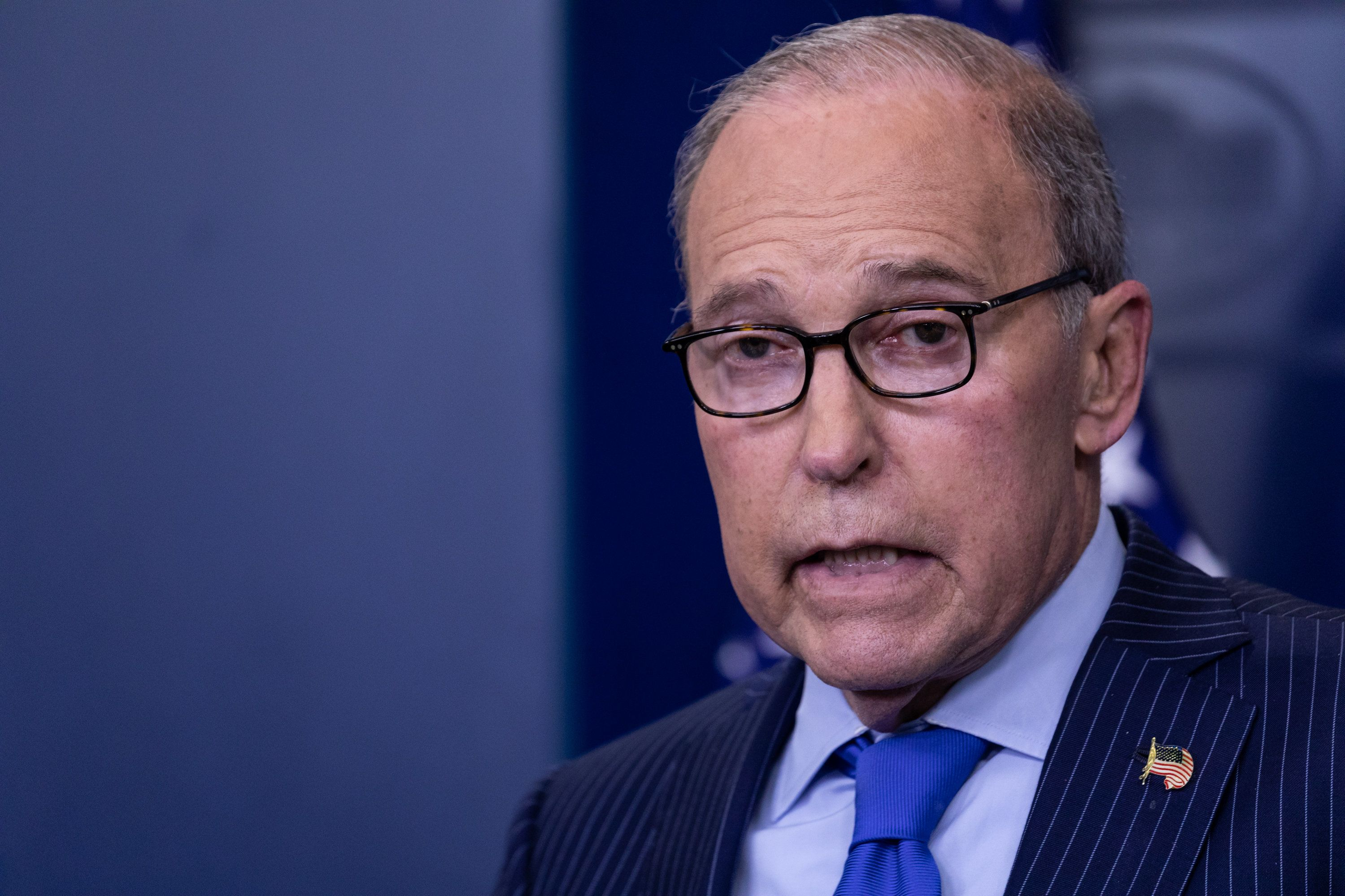 Larry Kudlow, NEC Director and Assistant to U.S. President Donald Trump for Economic Policy, conducts a press briefing on the G7 Summit in the James S. Brady Press Briefing Room of the White House, on Wednesday, June 6, 2018. (Photo by Cheriss May/NurPhoto via Getty Images)