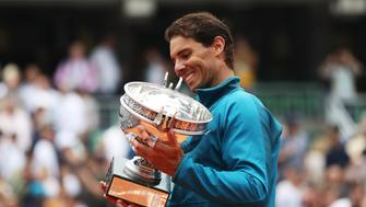 PARIS, FRANCE - JUNE 10: Rafael Nadal of Spain is seen with the trophy after his Men's Singles Final match against Dominic Thiem of Austria during day fiftteen of the 2018 French Open at Roland Garros on June 10, 2018 in Paris, France.  (Photo by Ian MacNicol/Getty Images)
