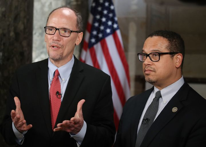 Democratic National Committee Chairman Tom Perez (left) and Rep. Keith Ellison of Minnesota, the DNC deputy chairman, are amo