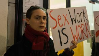 LONDON, UNITED KINGDOM - MARCH 08: Hundreds of people take part in a protest march through London's Soho district on International Women's Day against criminalisation of sex work as well as the associated stigma, unsafe work conditions and violence against sex workers. March 08, 2018 in London, England. (Photo credit should read Wiktor Szymanowicz / Barcroft Media via Getty Images)