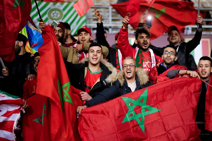 Fans of Morocco show their support prior to a friendly match between Morocco and Serbia on March 23 in Italy.