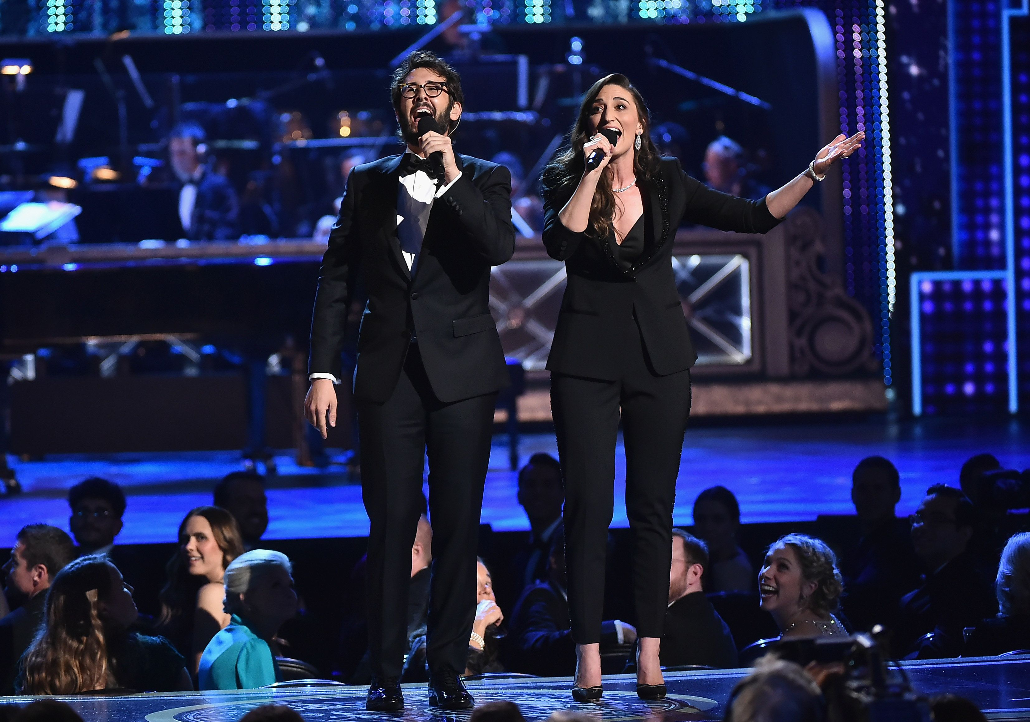 NEW YORK, NY - JUNE 10:  Josh Groban and Sara Bareilles perform onstage during the 72nd Annual Tony Awards at Radio City Music Hall on June 10, 2018 in New York City.  (Photo by Theo Wargo/Getty Images for Tony Awards Productions)
