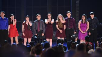 NEW YORK, NY - JUNE 10:  Marjory Stoneman Douglas High School drama students perform onstage during the 72nd Annual Tony Awards at Radio City Music Hall on June 10, 2018 in New York City.  (Photo by Theo Wargo/Getty Images for Tony Awards Productions)