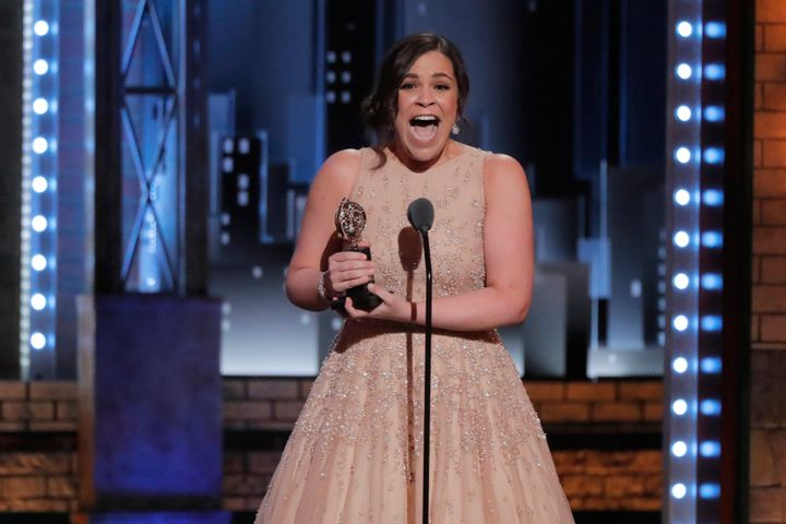 "Lindsay Mendez accepts the award for Best Featured Actress in a Musical for ""Carousel."""