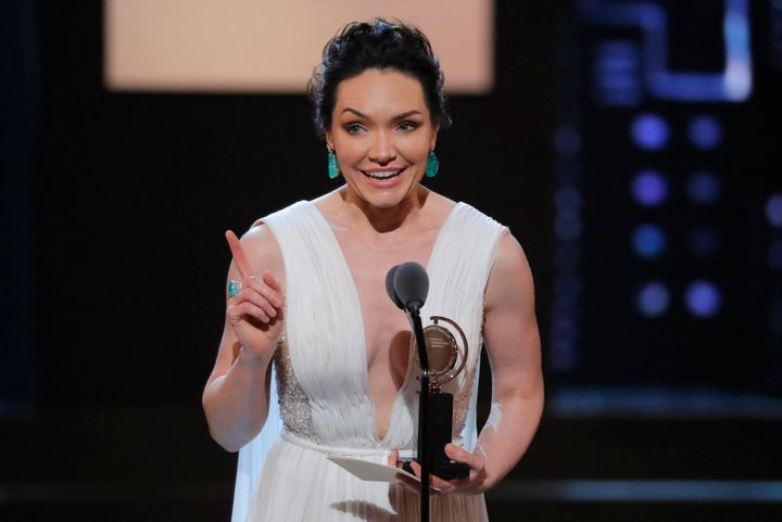 "Katrina Lenk accepts the award for Lead Actress in a Musical for ""The Band's Visit."""