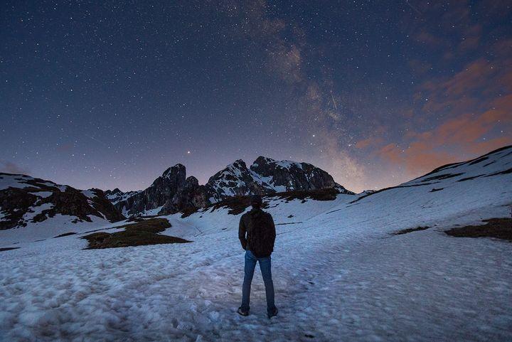 5월 말에도 눈이 쌓여있는 돌로미티의 파우 가소 산에서.