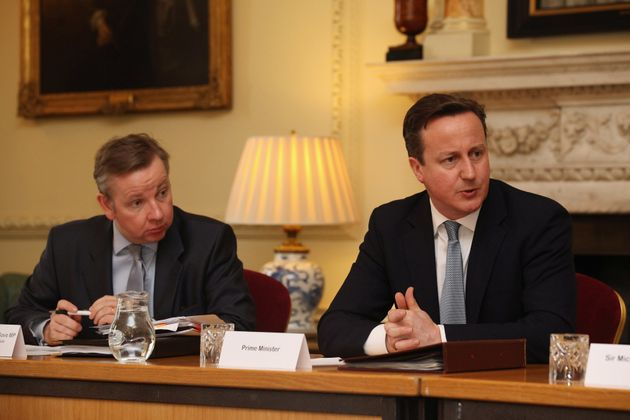 Michael Gove, here with former Prime Minister David Cameron, who Warsi claims 'radicalised' the