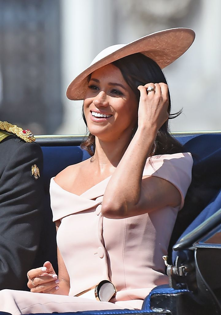 Meghan, Duchess of Sussex, travels in an open carriage to the Trooping the Color ceremony on June 9.