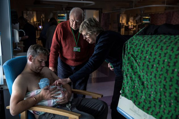 Paul Barnes does skin-to-skin contact with his son Archie, born prematurely at 33 weeks on Jan. 23 in...