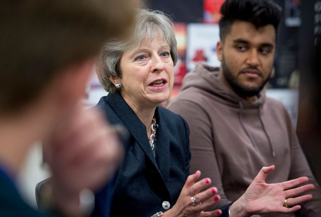 Prime Minister Theresa May meets sixth formers and primary aged pupils at the Dunraven School,