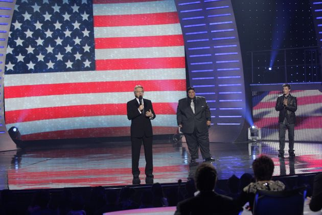 Neal on the 'America's Got Talent' stage, with host Jerry