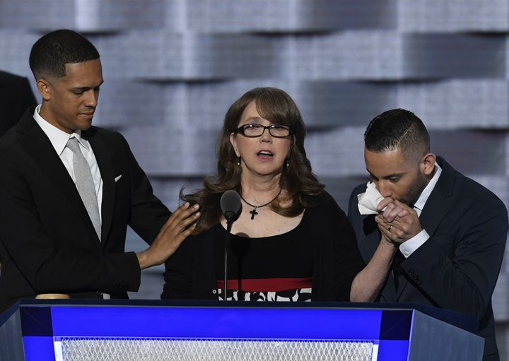 Brandon Wolf appears onstage at the the Democratic National Convention alongside Christopher Leinonen's mother and