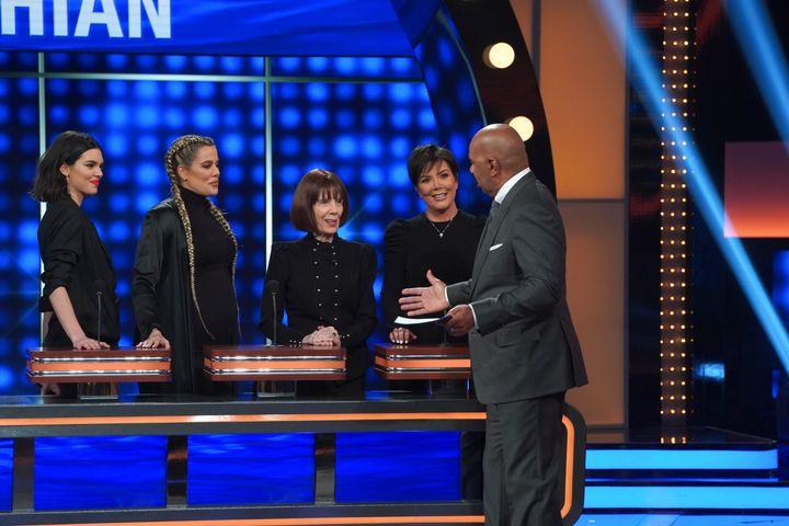 "Team Kar-Jenner on ""Celebrity Family Feud"" with host Steve Harvey."