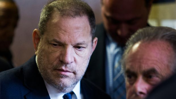 Harvey Weinstein (L) exits the Manhattan Criminal Court room on June 5, 2018 in New York. - Weinstein pleaded not guilty to rape and sexual assault charges in New York. Weinstein was charged with rape and another sex crime in New York in late May, nearly eight months after his career imploded in a blaze of accusations of sexual misconduct. (Photo by EDUARDO MUNOZ ALVAREZ / AFP)        (Photo credit should read EDUARDO MUNOZ ALVAREZ/AFP/Getty Images)