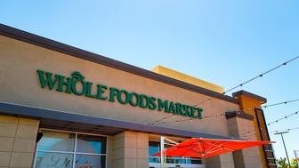 Facade with signage at Whole Foods Market grocery store in Dublin, California, June 16, 2017. On June 16, 2017, Amazon.com announced that it would acquire the upscale grocery chain. (Photo via Smith Collection/Gado/Getty Images).