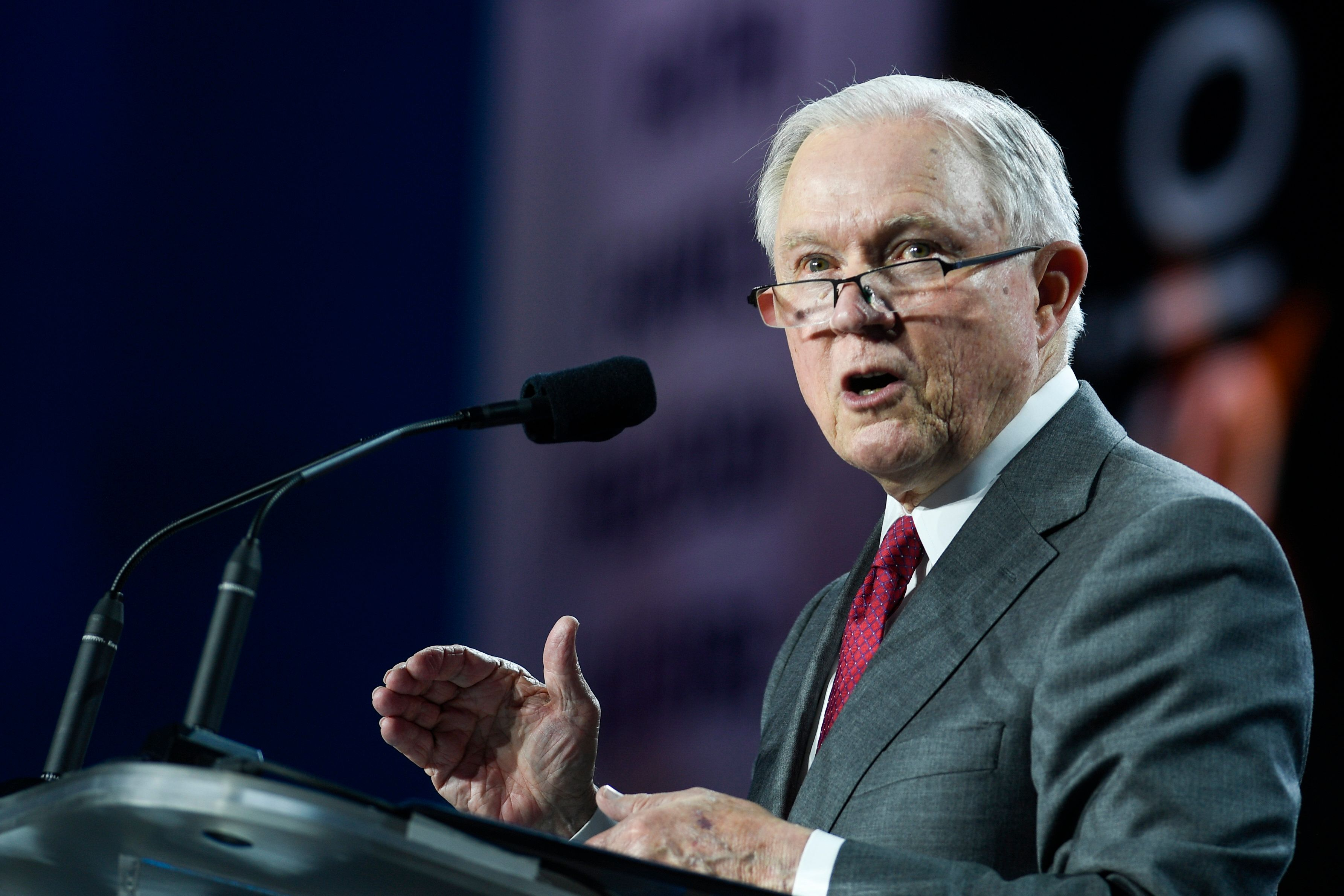DENVER, CO - JUNE 8: United States Attorney General Jeff Sessions speaks during the Western Conservative Summit in Denver on Friday, June 8, 2018. (Photo by AAron Ontiveroz/The Denver Post via Getty Images)