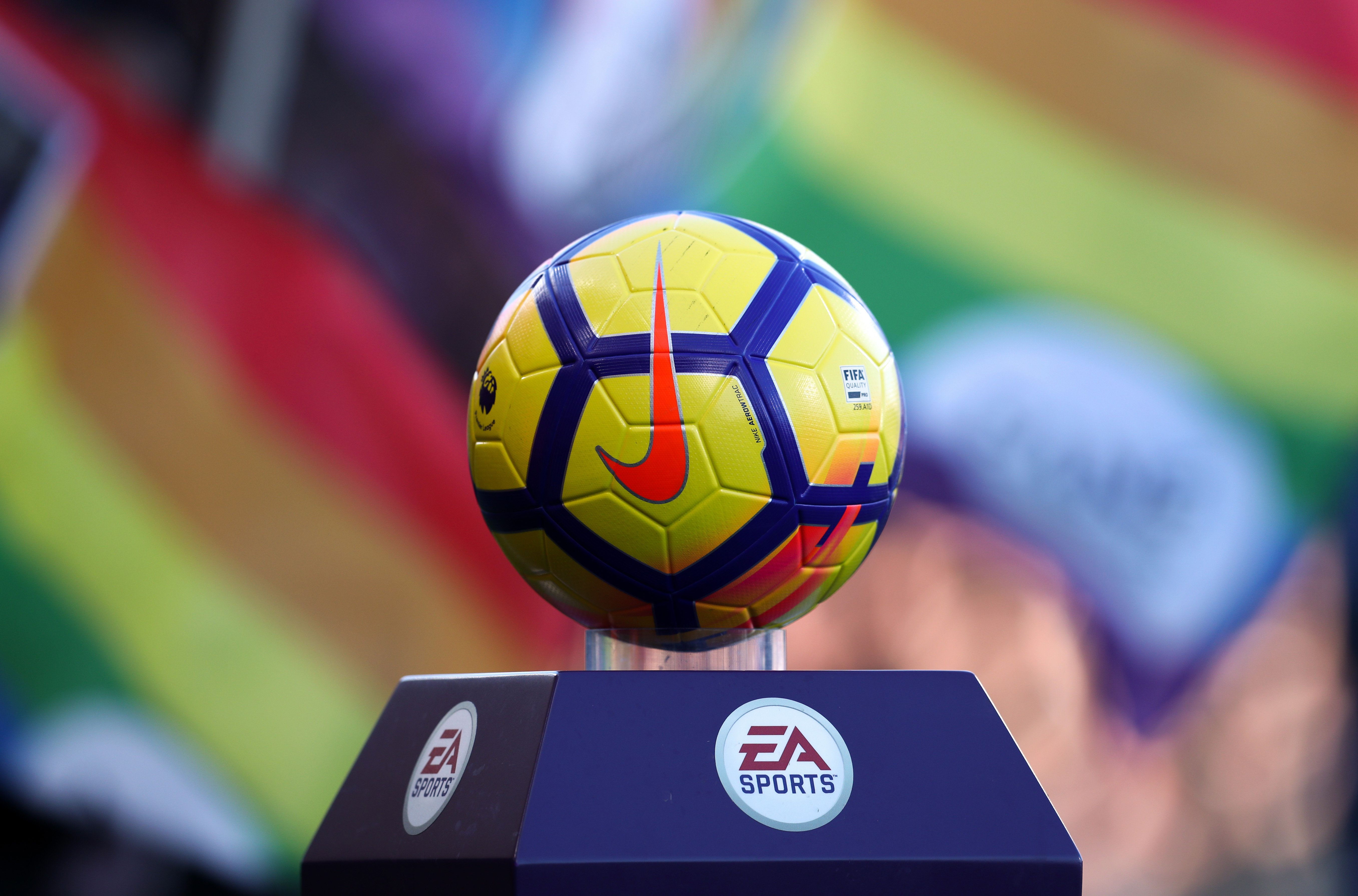 BOURNEMOUTH, ENGLAND - FEBRUARY 24: The Nike match ball infront of rainbow flags during the Premier League match between AFC Bournemouth and Newcastle United at Vitality Stadium on February 24, 2018 in Bournemouth, England. (Photo by Catherine Ivill/Getty Images)